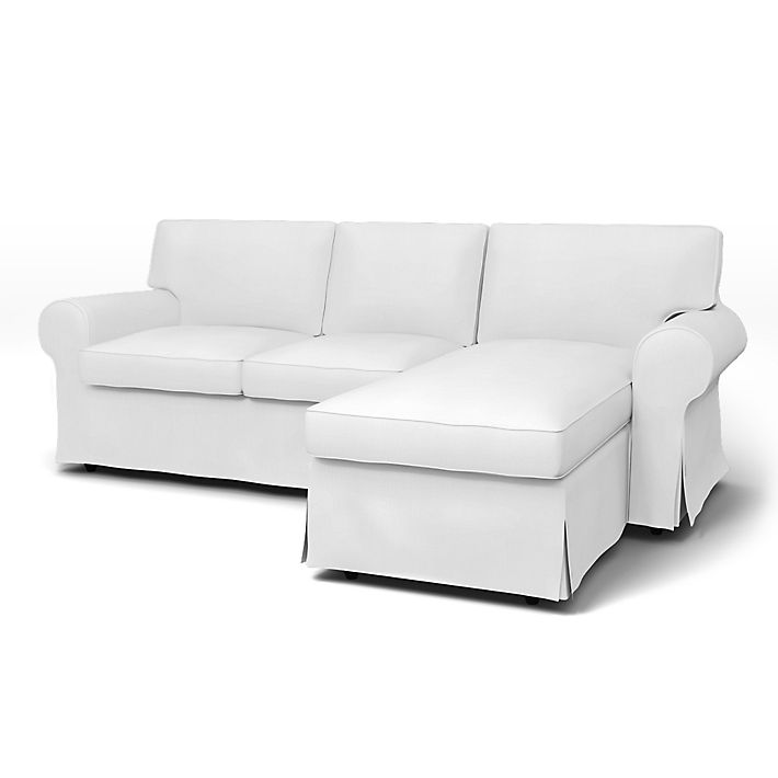 Ektorp 2 seater sofa with chaise longue cover with piping Chaise longue bascule 2 places