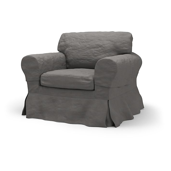 Ektorp Armchair Covers Loose Fit Country Using The Fabric Chenille Velvet Graphite