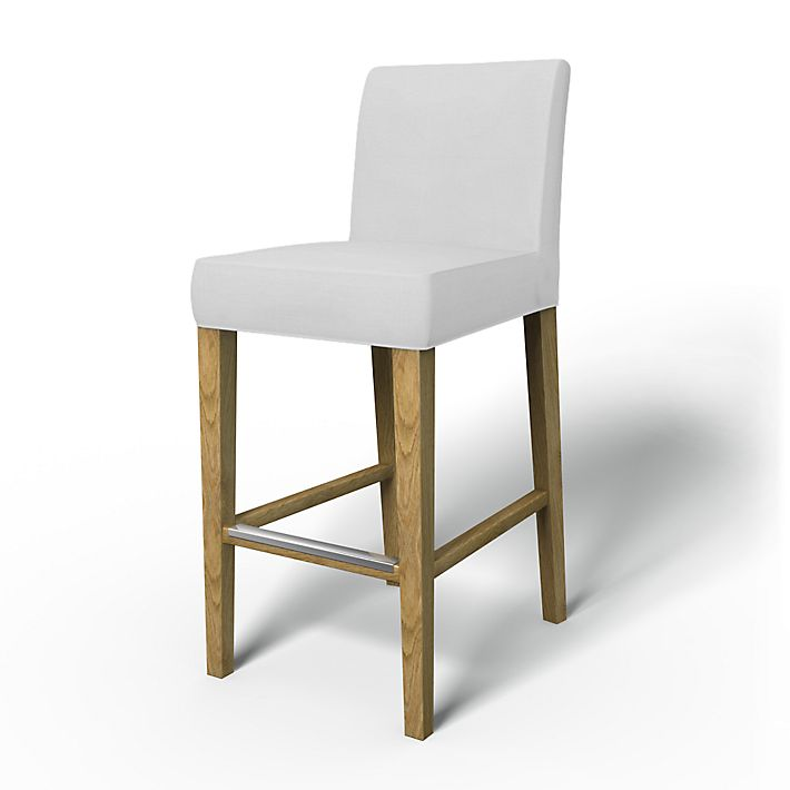 Henriksdal, Chair Covers, Bar stool, Regular Fit using the fabric Panama  Cotton Silver - Henriksdal, Barstool Cover - Bemz